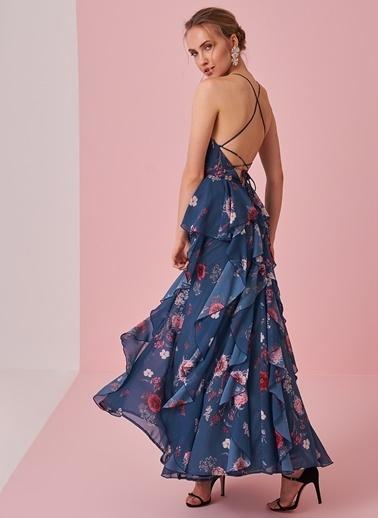 morhipo x dcey Çiçek Desenli Fırfır Detaylı Elbise Lacivert